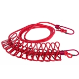 班哲尼 旅行便携多功能带夹晾衣绳 防风弹力晒衣架 12夹晾衣绳 红色