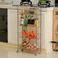 歐潤哲 置物架 窄身夾縫收納4層帶輪可移手推車置物架 浴室收納架廚房整理架