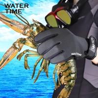 WaterTime蛙咚 魔术贴浮潜深潜防滑贴合保暖耐磨潜水手套 黑色XL