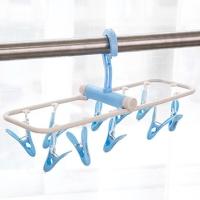 班哲尼 多功能便携防风旋转可折叠晒衣架 可拆卸夹子内衣袜子晾衣架 儿童塑料晾晒架 带12夹子 蓝色