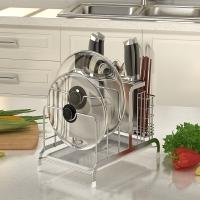 艾心依然  SUS304不锈钢厨房刀架砧板架多功能厨房置物架?#27602;?#26550;锅盖架子
