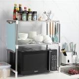 美廚(maxcook)廚房置物架收納架 不銹鋼微波爐架MCWA-ZWJ01 可拉伸可調節層高 帶掛鉤帶膠墊