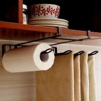 歐潤哲 下掛置物架 4格多用途廚房免釘掛架紙巾卷紙收納架毛巾架杯子鍋鏟湯勺懸掛式置物整理架 棕色