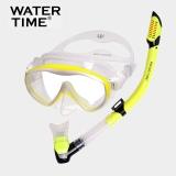 watertime游泳浮潛三寶套裝單面潛水鏡成人全干式呼吸管裝備面罩 黃色