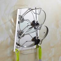 千恩千喜 QEQX SUS304不锈钢免打孔锅盖架 厨房置物架壁挂 带接水盘 G255-D