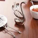 歐潤哲 餐具架 不銹鋼創意天鵝精美水果叉勺座套裝