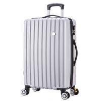 博兿(BOYI)萬向輪24英寸拉桿箱時尚輕盈經典條紋行李箱男版商務休閑旅行箱BY-82002銀白色