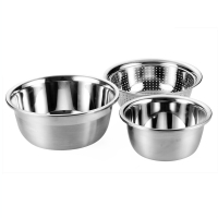 SIMELO(施美樂)加厚料理碗不銹鋼調理盆濾籃暢銷三件套