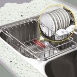 Edo 厨房置物架 304不锈钢沥水架碗碟架 伸缩水槽架 洗菜篮碗碟收纳架32/46*25*11 8038