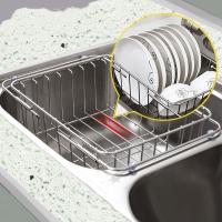 Edo 304不銹鋼廚房碗碟瀝水籃置物架 伸縮水果籃水槽架TH8038