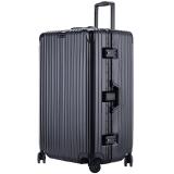 文森保罗(VinsonPaul)32英寸行李箱大容量铝框万向轮拉杆箱男女运动版托运旅行密码箱子 VP-18206爵士黑