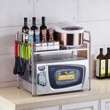 千恩千喜 QEQX SUS304不銹鋼微波爐架子 廚房置物架 烤箱架 收納架 支架 單層大號帶8鉤 W-5818A