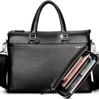 高尔夫(GOLF)精品头层牛皮男包商务公文包大容量男士手提包子母包套装T599101黑色