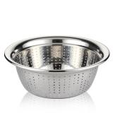 SIMELO(施美樂)廚房多用料理碗調理盆不銹鋼盆篩洗菜洗米盆濾水籃24厘米(加厚)