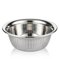 SIMELO(施美乐)厨房多用料理碗调理盆不锈钢盆筛洗菜洗米盆滤水篮24厘米(加厚)