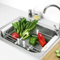 宝优妮 厨房沥水架碗碟架水槽洗菜沥水篮可伸缩塑料单层置物架蔬菜水果储物篮DQ0076