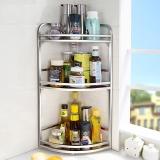 宝优妮厨房收纳刀架 厨具 三层转角架 调料储物架 不锈钢色 打孔/免打孔两用壁挂DQZWJ05