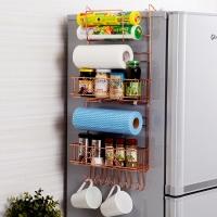 歐潤哲 置物架 鍍銅版多功能冰箱側壁掛架櫥柜側收納架免釘無痕廚具調料瓶杯子儲物架