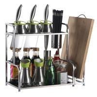 歐橡OAK 調料架子廚房置物架 加厚雙層不銹鋼收納儲物調味帶砧板刀架壁掛落地用品OX-C099