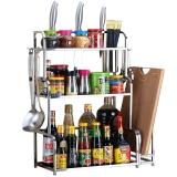 美厨(maxcook)厨房置物架 不锈钢三层刀架砧板架调料瓶架 带挂钩筷子筒 MC3035