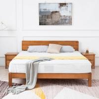 精邦 床 北美实木1.5米双人床维多利亚实木床原木色WSC-046