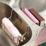 歐潤哲 廚房瀝水架 304不銹鋼跨水槽瀝水掛籃 洗碗抹布收納掛籃百潔布海綿廚房置物架