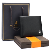 稻草人(mexican)錢包男士時尚商務男頭層牛皮橫款短款錢夾送禮盒禮品MLH010-01