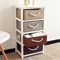 家逸床头柜实木现代简约收纳储物柜韩式麦秆斗柜子