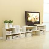 美达斯 电视柜 简约可伸缩L型电视柜 小户型地柜格子柜储物柜 白色 13125