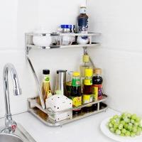 宝优妮调料架不锈钢厨房置物架子壁挂架落地2层调料盒收纳架厨房用品DQZWJ02
