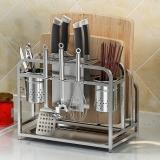 艾心依然 刀架 304不锈钢厨房置物架菜板架用品收纳架带筷子筒4个挂钩