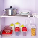 宝优妮厨房置物架不 锈钢衣柜可伸缩 整理架收纳架橱柜衣柜隔板搁板挂架厨房用品DQ0778-6