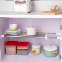 宝优妮厨房置物架不锈钢可伸缩收纳层架衣柜隔板搁板整理架免打孔DQ0778-10