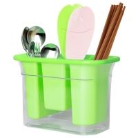 拜杰(Baijie)加厚优质塑料筷子筒三?#37096;?#23376;笼沥水筷筒厨房餐具分格餐具架收纳盒 绿色