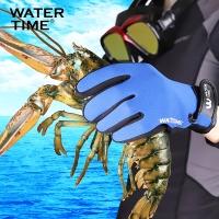 WaterTime蛙咚 魔术贴浮潜深潜防滑贴合保暖耐磨潜水手套 宝蓝色M