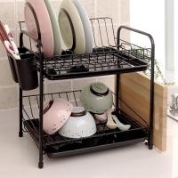 欧润哲 碗碟架 双层厨房用餐具置物沥水刀筷子架 黑色
