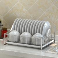 艾心依然 304不锈钢单层碗碟架 厨房收纳沥水架 置物架 (44*33*17CM) 碗碟架单层