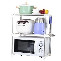 宝优妮 厨房置物架微波炉架子双层烤箱架不锈钢餐具盘子储物架收纳架碗碟架赠挂钩 DQ0826