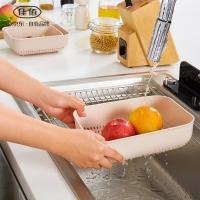 佳佰 方形简艺果蔬箩沥水篮 洗菜篮沥水篮沥水架 滤水3件套  J-262