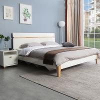 掌上明珠家居 北欧亮光烤漆床 板式实木结合单人床 1.5米 ESA117-A152
