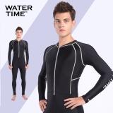 WaterTime男女士水母衣浮潜服 连体冲浪潜水服浮潜衣长袖防晒泳衣 黑色 XL