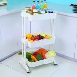 宝优妮厨房置物架落地三层收纳架洗菜篮移动整理架水果储物架厨房用具DQ1513-1