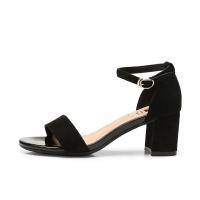 骆驼牌 凉鞋女一字带绒面增高优雅仙气粗跟 W92514504 黑色 36