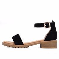 骆驼(CAMEL) 女士 优雅简约牛反绒一字扣带低跟凉鞋 A92515674 黑色 37