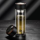 富光 男女士双层玻璃杯 经典简约304不锈钢茶隔水杯子 便携创意泡茶杯320ML雅黑(WFB1013-320)
