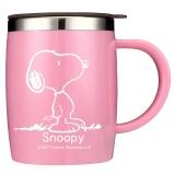 史努比(SNOOPY)带手柄不锈钢办公保温杯水杯420ML可爱杯子情侣杯 DP-5002R 粉色
