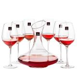 1950纯手工吹制全家福红酒杯酒具组合套装6高脚杯1醒酒器赠8个配件