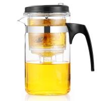 紫丁香 玻璃茶壶 按压式过滤飘逸壶 可拆洗内胆泡茶杯功夫茶具花茶壶500ml
