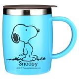 史努比(SNOOPY)带手柄不锈钢办公保温杯水杯420ML可爱杯子情侣杯 DP-58002B 蓝色
