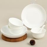 SKYTOP斯凯绨 餐具套装碗盘碟陶瓷骨瓷4人份纯白8头圆形